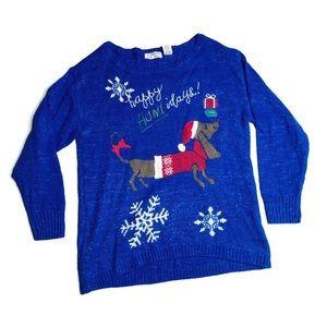 Isabella's Closet Christmas Dog Sweater Blue Ugly